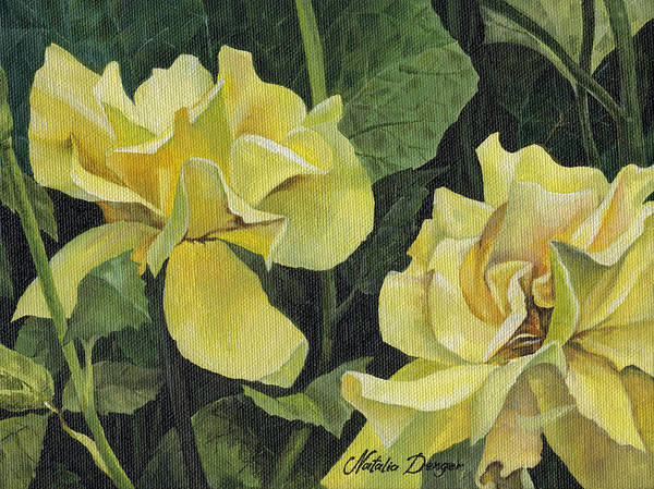 Yellow Poster featuring the painting Tea Rose by Natasha Denger