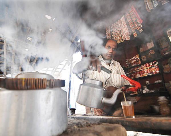 Tea Vendor Poster featuring the photograph Tea Seller by Money Sharma