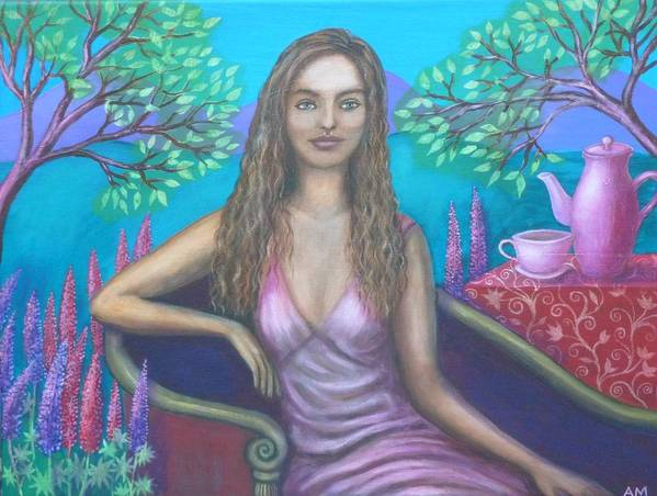 Eleanor Poster featuring the painting Tea With Eleanor by Alice Mason
