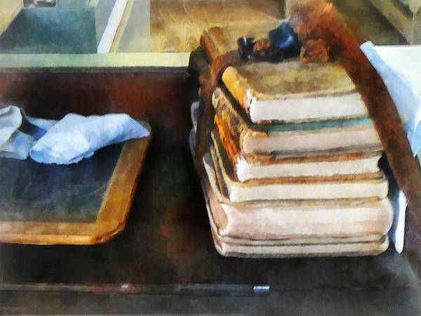 School Poster featuring the photograph Teacher - Old School Books And Slate by Susan Savad