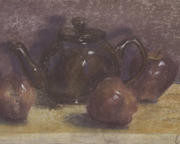 Still Life Poster featuring the painting Teapot And Apples by Claudia Cox