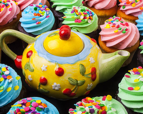 Teapot Poster featuring the photograph Teapot And Cupcakes by Garry Gay