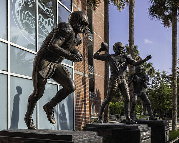Tebow Poster featuring the photograph Tebow Spurrier And Wuerffel Uf Heisman Winners by Lynn Palmer