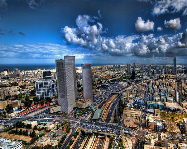 Israel Poster featuring the photograph Tel Aviv Center Skyline by Ron Shoshani