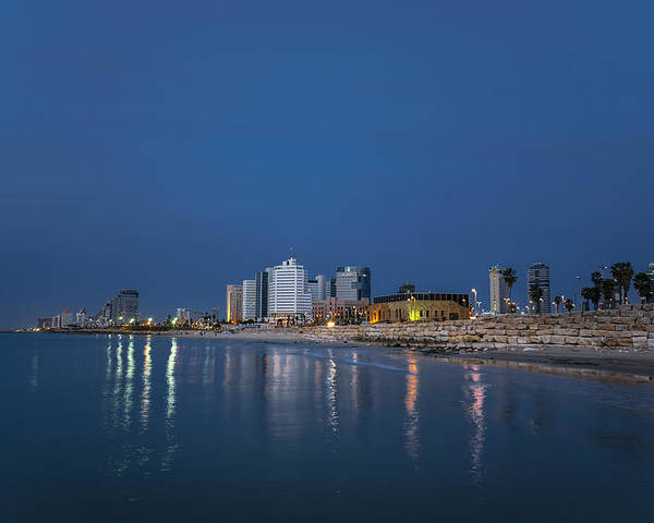 Judaica Poster featuring the photograph Tel Aviv The Blue Hour by Ron Shoshani
