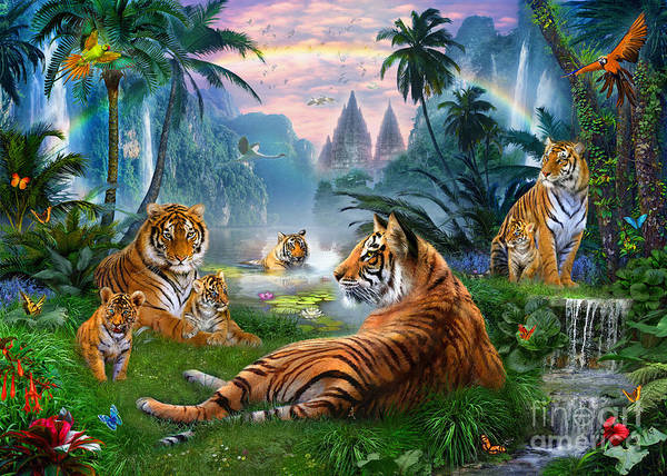 Animals Poster featuring the digital art Temple Lake Tigers by Jan Patrik Krasny