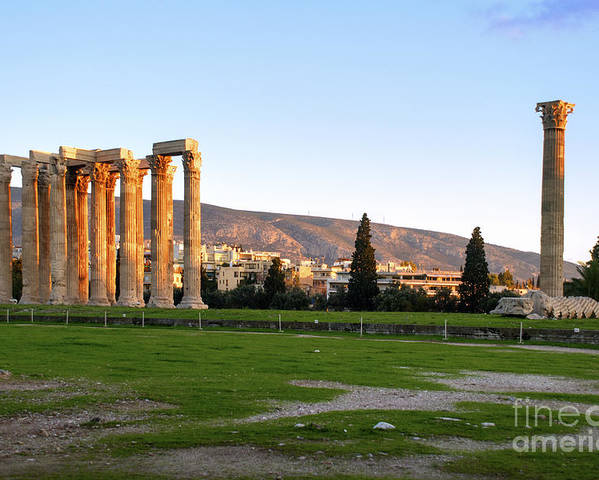 The Past Poster featuring the photograph Temple Of Olympian Zeus. Athens by Ilan Rosen