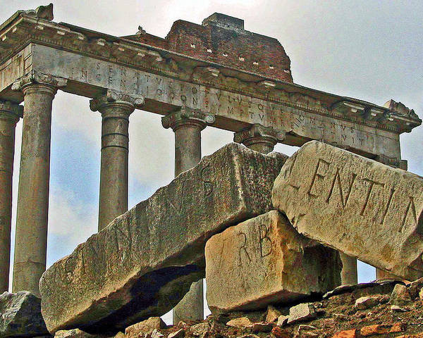 Temple Poster featuring the photograph Temple Of Saturn In The Roman Forum by Jean Hall