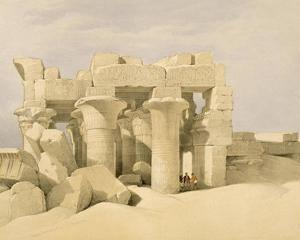 Ruins Poster featuring the painting Temple Of Sobek And Haroeris At Kom Ombo by David Roberts