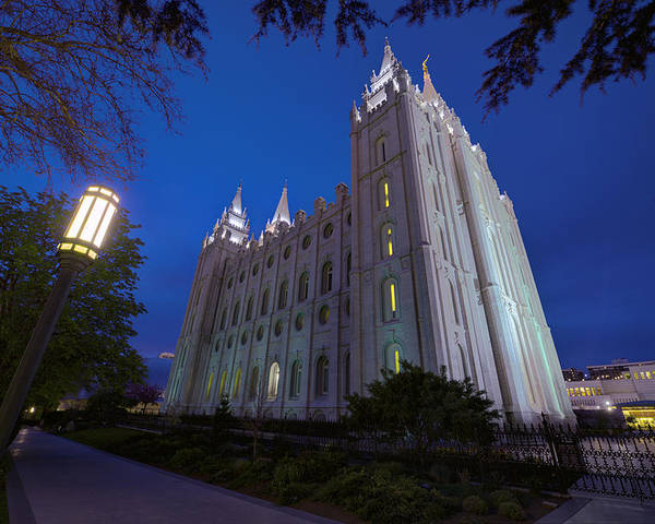 Mormon Poster featuring the photograph Temple Perspective by Chad Dutson