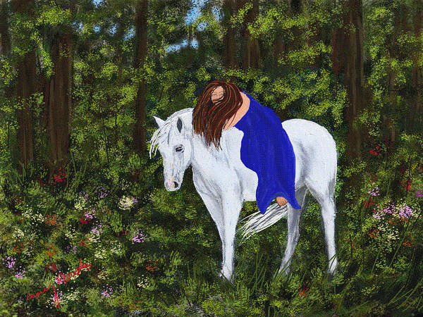 Horse Poster featuring the painting Temptress In The Forest by Amy Acosta