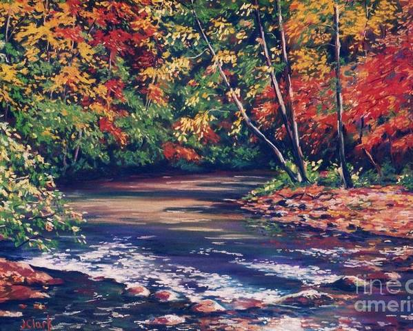Tennessee Poster featuring the painting Tennessee Stream In The Fall by John Clark
