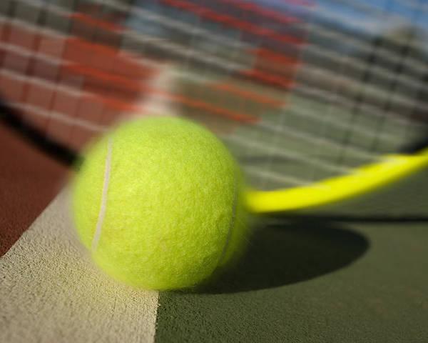Tennis Poster featuring the photograph Tennis Ball And Racquet by Joe Belanger