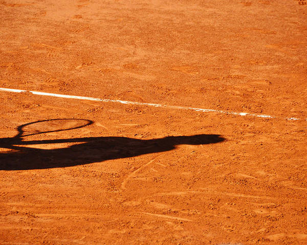 Clay Poster featuring the photograph Tennis Player Shadow On A Clay Tennis Court by Dutourdumonde Photography