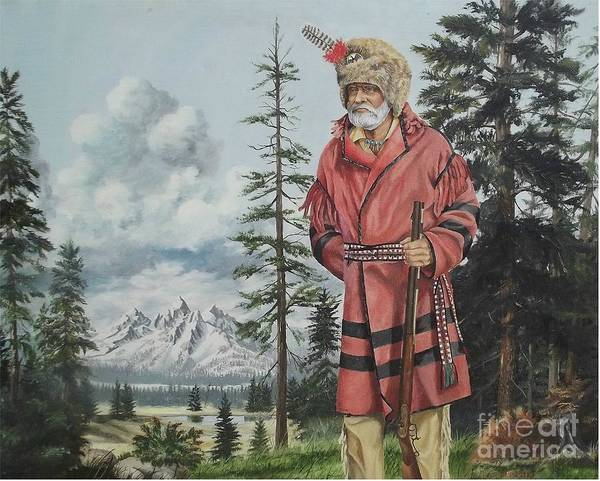 Landscape Poster featuring the painting Terry The Mountain Man by Wanda Dansereau