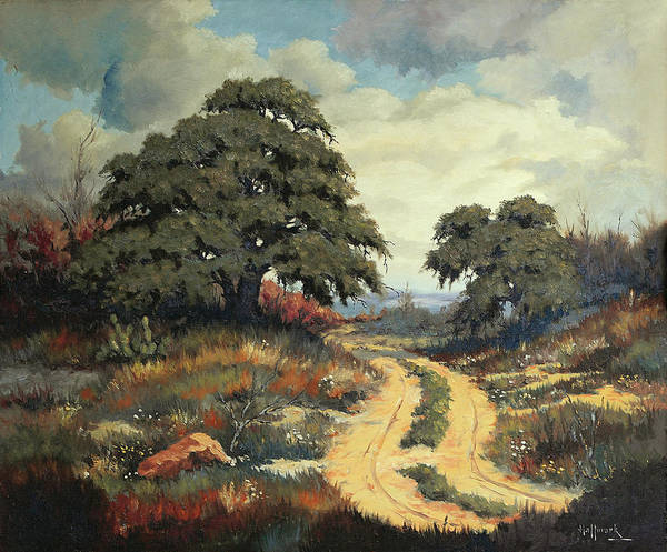 Bob Hallmark Poster featuring the painting Texas Hill Country by Bob Hallmark