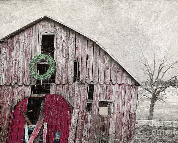 Red Barn Poster featuring the photograph Texas Manger by Elena Nosyreva