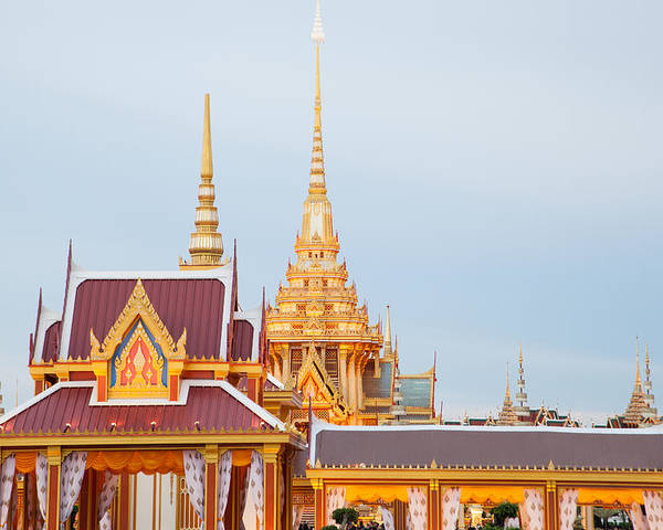 Architecture Poster featuring the sculpture Thai Construction Design. by Vachiraphan Phangphan