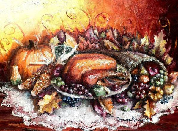 Thanksgiving Poster featuring the painting Thanksgiving Dinner by Shana Rowe Jackson