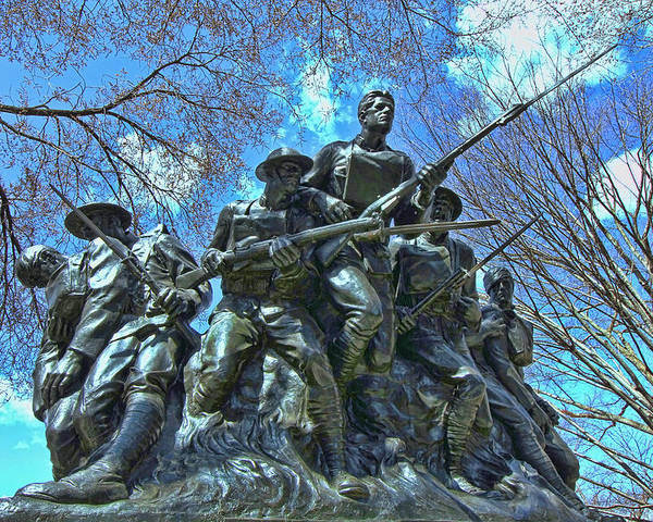American Poster featuring the photograph The 107th Infantry Memorial Sculpture by Allen Beatty