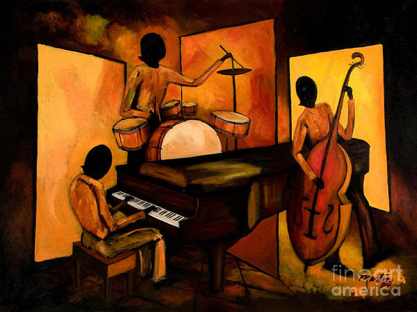 Jazz Poster featuring the painting The 1st Jazz Trio by Larry Martin