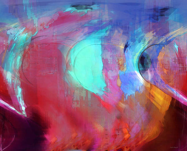 Abstract Poster featuring the digital art The Afterglow by Linda Sannuti