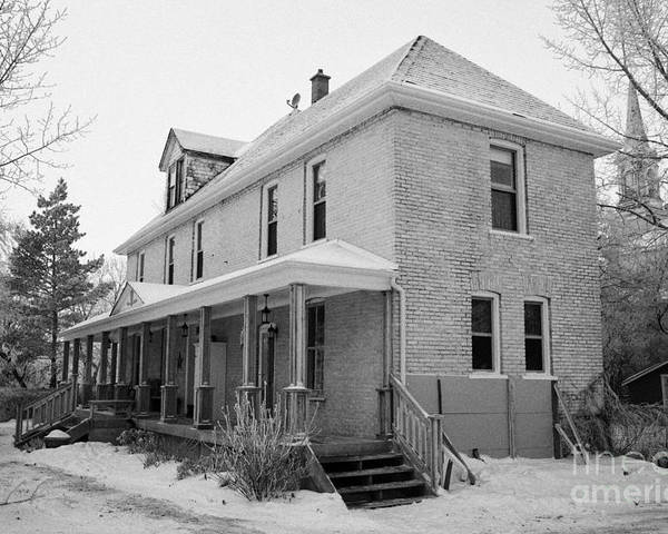Ananda Poster featuring the photograph the ananda arthouse in the former st josephs rectory in Forget Saskatchewan Canada by Joe Fox