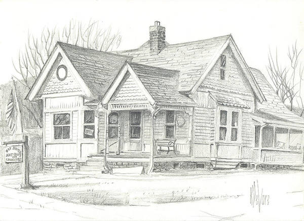 The Antique Shop Poster featuring the drawing The Antique Shop by Kip DeVore