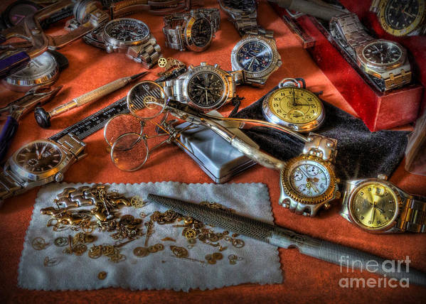 The Art Of The Timepiece Poster featuring the photograph The Art Of The Timepiece - Watchmaker by Lee Dos Santos