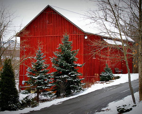 Farm Photographs Poster featuring the photograph The Barn In Wintertime by Jeanne Geidel-Neal