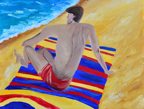 Man Poster featuring the painting The Beach Towel by Donna Blackhall