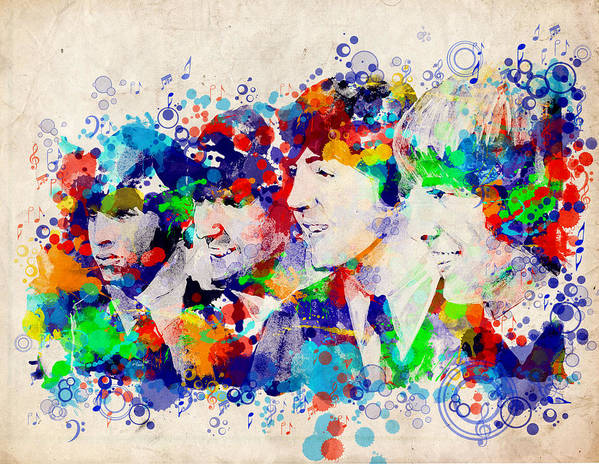 Beatles Poster featuring the painting The Beatles 7 by Bekim M
