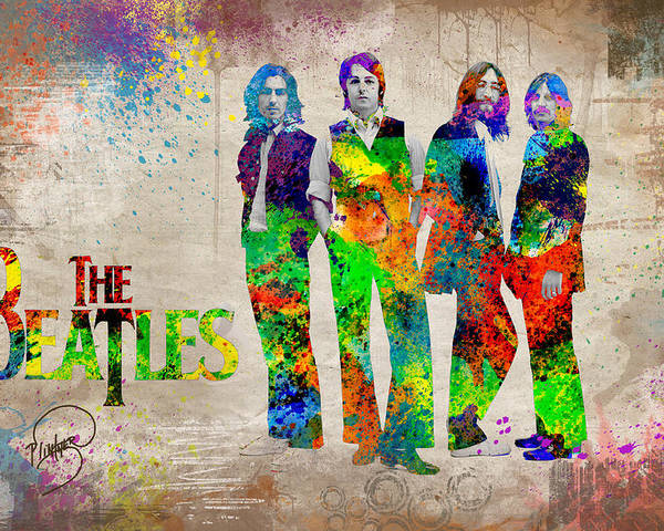 Beatles Revolution Poster featuring the digital art The Beatles by Patricia Lintner