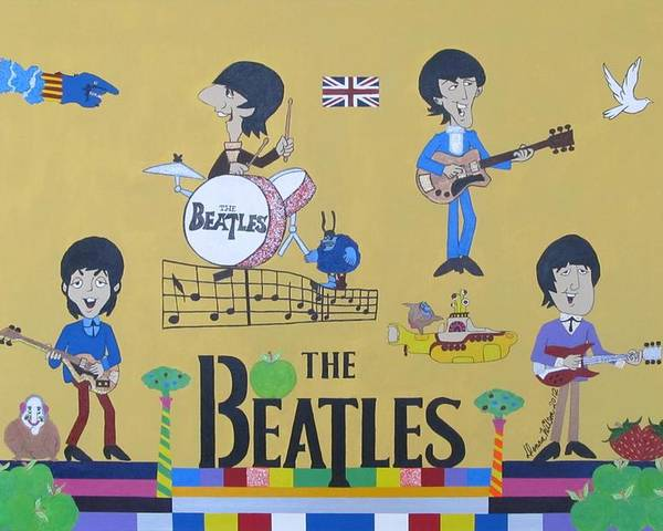 The Beatles Poster featuring the painting The Beatles Yellow Submarine Concert by Donna Wilson
