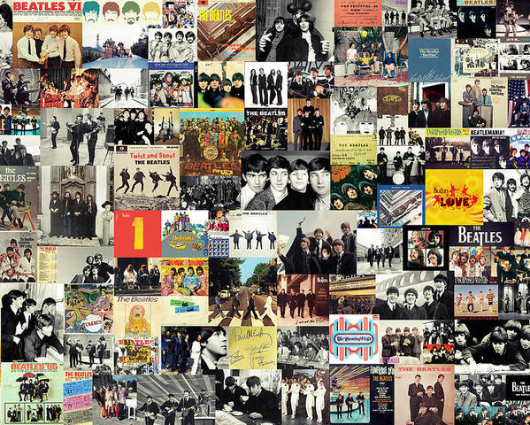 The Beatles Poster featuring the mixed media The Beatles Collage by Taylan Apukovska