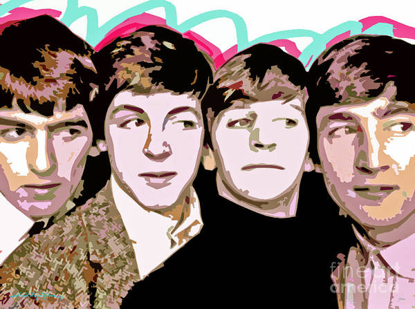 The Beatles Poster featuring the painting The Beatles Love by David Lloyd Glover