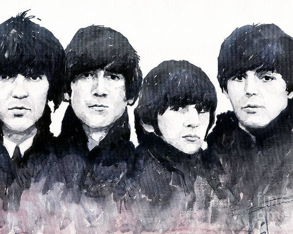 Watercolour Poster featuring the painting The Beatles by Yuriy Shevchuk