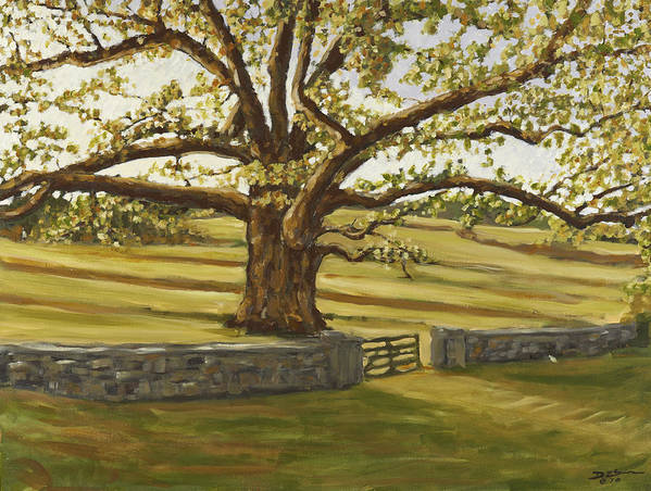 The Bedford Oak Poster featuring the painting The Bedford Oak Summer by David Llanos