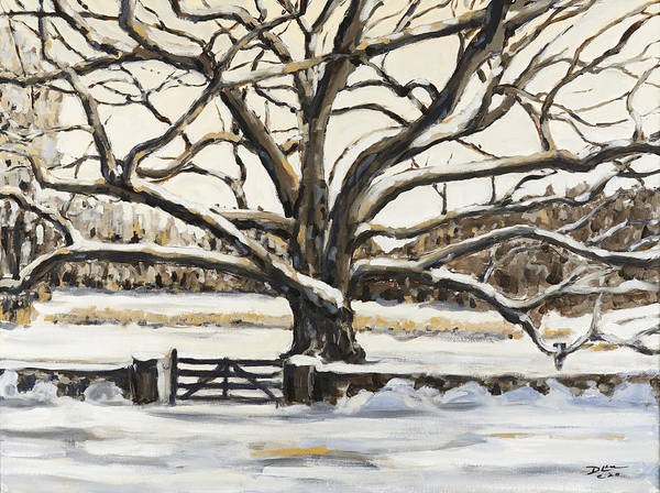 Bedford New York Poster featuring the painting The Bedford Oak Winter by David Llanos