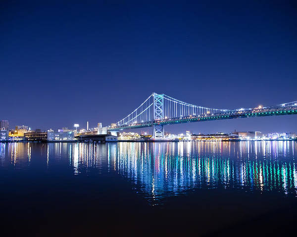 Benjamin Poster featuring the photograph The Benjamin Franklin Bridge At Night by Bill Cannon