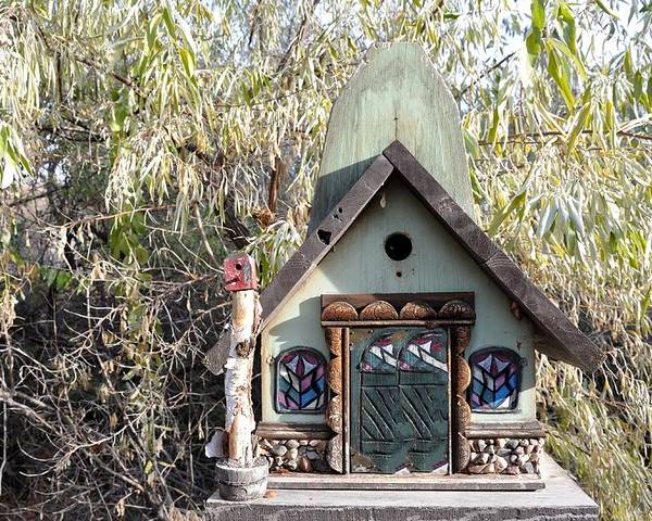 Melba; Idaho; Birdhouse; Shelter; Outdoor; Fall; Autumn; Leaves; Plant; Vegetation; Land; Landscape; Tree; Branch; House; Cross; Poster featuring the photograph The Birdhouse Kingdom - The Western Tanager by Image Takers Photography LLC - Carol Haddon
