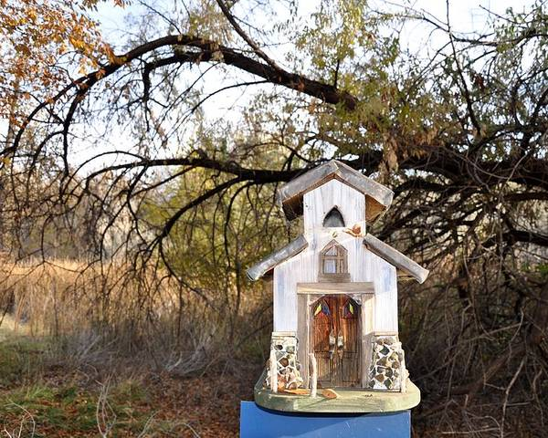 Melba; Idaho; Birdhouse; Shelter; Outdoor; Fall; Autumn; Leaves; Plant; Vegetation; Land; Landscape; Tree; Branch; House; Cross; Poster featuring the photograph The Birdhouse Kingdom - Wilson's Warbler by Image Takers Photography LLC - Carol Haddon