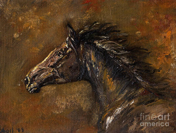 Horse Poster featuring the painting The Black Horse Oil Painting by Angel Ciesniarska