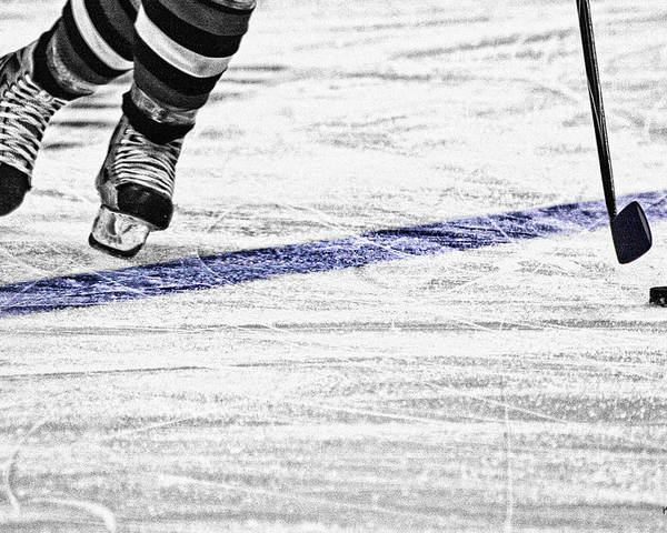 Ice Hockey Poster featuring the photograph The Blue Line by Karol Livote