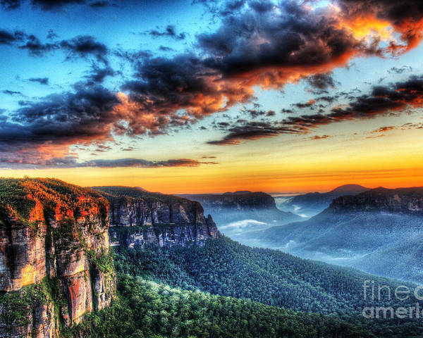 Dawn Poster featuring the photograph The Blue Mountains by Colin Woods