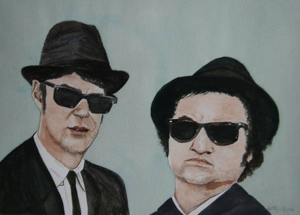 Snl Poster featuring the painting The Blues Brothers by Betty-Anne McDonald