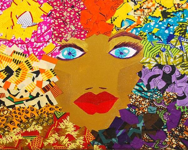 Collage Poster featuring the tapestry - textile The Bluest Eyes by Apanaki Temitayo M