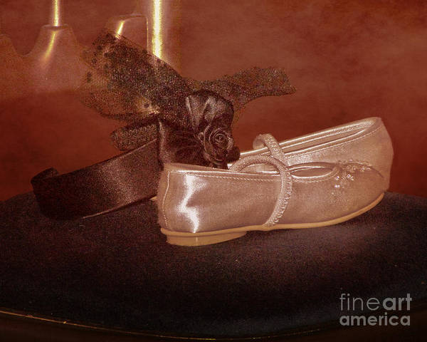 Satin Poster featuring the photograph The Bridesmaid's Shoes by Terri Waters