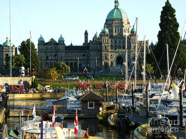 Greeting Card Poster featuring the digital art The British Columbia Capitol And Marina by Raphael OLeary