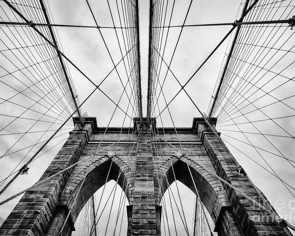Black And White Poster featuring the photograph The Brooklyn Bridge by John Farnan